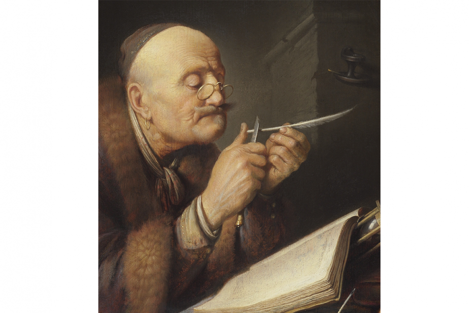 La tableauA scholar sharpening his quill du peintreSalomon...