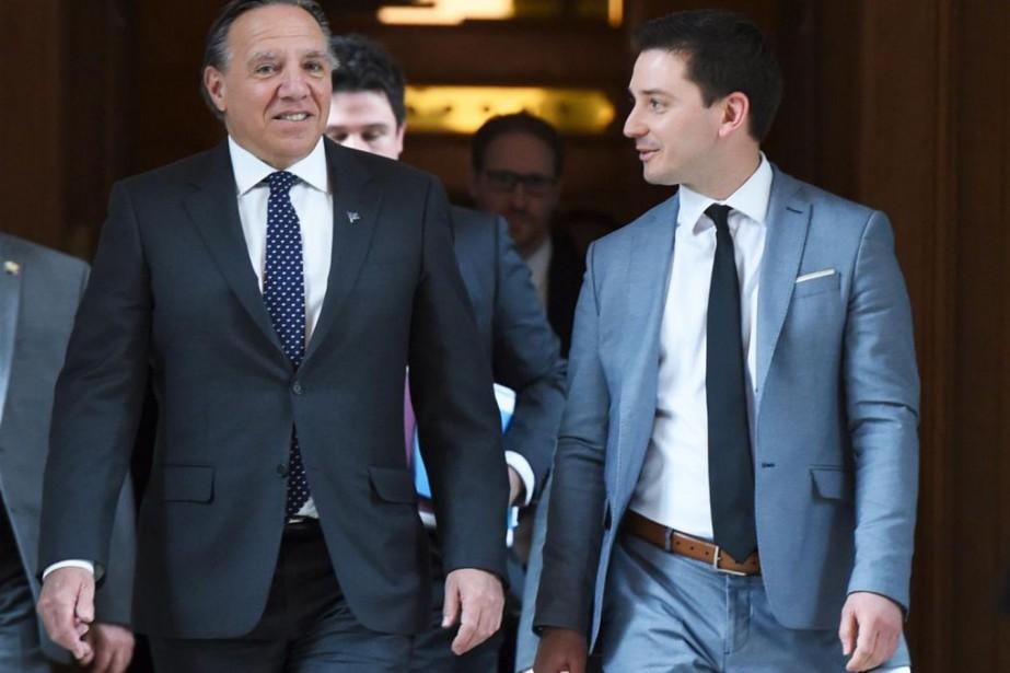 Le premier ministre François Legault et le ministre... (PHOTO YAN DOUBLET, LE SOLEIL)