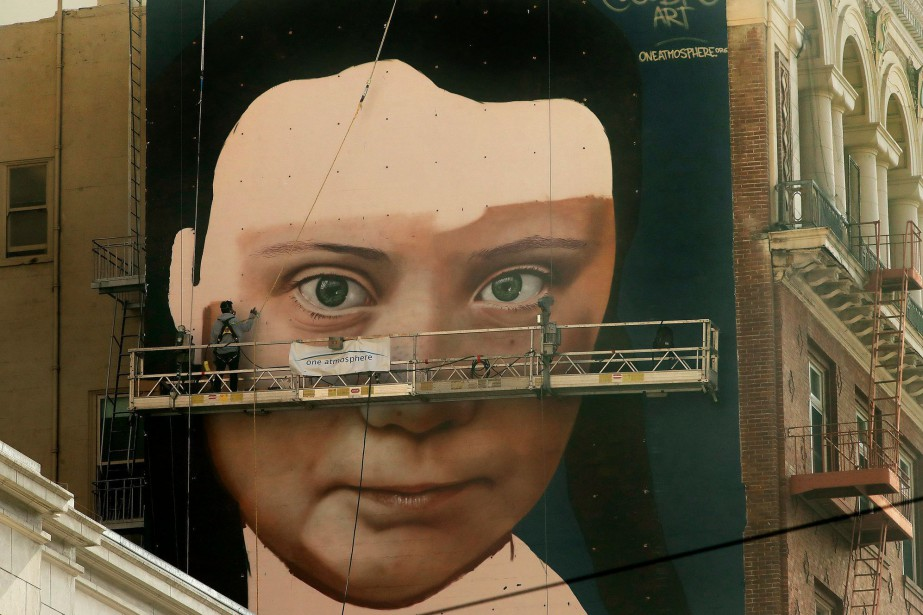 Une murale représentant Greta Thunberg a été peinte... (PHOTO AP)